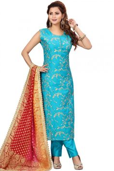 This sky blue chanderi silk trouser suit will exudes feminine charm. This round neck and sleeveless attire elaborated using zari work. Available with chanderi silk trouser pant in sky blue color with multi color georgette dupatta Trouser pant has plain work. Dupatta highlighted with printed work. #trousersuit #salwarkameez #malaysia #Indianwear #Indiandresses #andaazfashion Blue Trousers, Silk Pants, Trouser Suits, Costumes Bleus, Salwar Kameez, Churidar, Différents Styles, Pantalon Cigarette, Plus Size Boutique