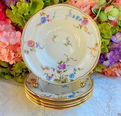 5 Beautiful Vintage Castleton Porcelain Rimmed Soup Bowls ~ Sunnyvale Gold Roses #Castleton