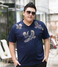 2017 New Time-limited Casual V-neck Cotton Large Men's Summer Short Sleeved T-shirt fat V Collar Breathable Irregular Printing