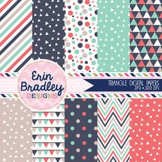 Triangle Digital Paper Set with Stripes Polka Dots Chevron & Bunting Designs Commercial Use Graphics