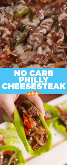 No-Carb Philly Cheesesteaks are the easiest way to ditch those extra cals. Get the recipe at Delish.com. #nocarb #lowcarb #delish #lettucewrap #healthy #diet #philly #phillycheesesteak #meat