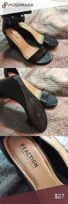 Black stylish wedges Wore them maybe twice from my inspection there is no damage to them. They've been stored away for quite a while so I finally decided I am not going to wear them again. However, they are very cute :) Kenneth Cole Reaction Shoes Wedges