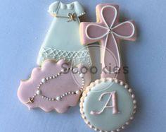 Niña bautismo Cookies / galletas decoradas de bautizo bautismo decoradas galletas de comunión Cookies/primera comunión / favorecer / 1 docena