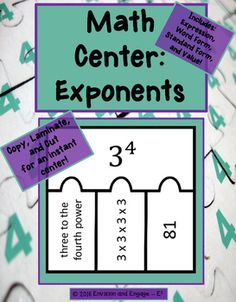 Math centers, exponents, structured center, word form, standard form, value, puzzles, math manipulatives, differentiationIn this structured center, students are able to manipulate puzzle pieces that include the exponent expression, word form, standard form, and value.