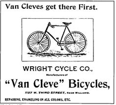 The Wright Van Cleve Bicycle Before the Wright brothers were famous for the first controlled flight, they were in the bicycle business.