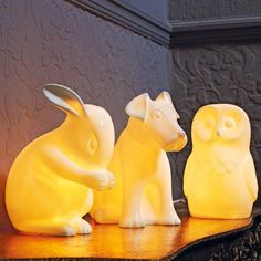 Animal Nightlights..the bunny rabbit is adorable..perfect for a little girl's enchanted forest bedroom.