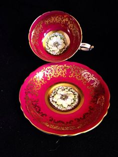 Paragon Cup Gold Scrolls Red Tea Cup And Saucer Bone. China