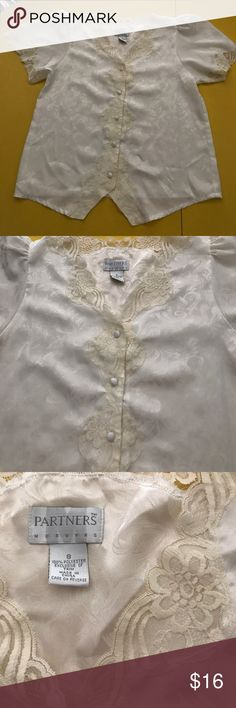 Ladies white bed jacket Small Partners brand Ladies bed jacket size small. Trimmed with antique white lace. Partners brand. Silky polyester. In great condition. Partners Intimates & Sleepwear
