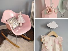 Pink, white, grey and mint baby nursery. Eames chair by Modernica, paper bunnies by Chloé FLeury, bunny tunic by BabyGap. http://blog.chloefleury.com/2013/07/22/welcome-to-my-babys-bunnyland/