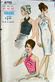 Vogue 6793 circa 1967 Halter-top Dress and Blouse