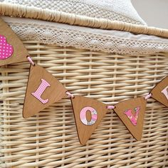 personalised wood & fabric bunting by neltempo | notonthehighstreet.com