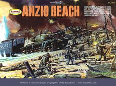 Aurora Anzio Beach '68 Box. Favorite Older Brother had this. Soldiers were smaller than regular army men but it recreated the entire landing on Anzio, complete with tanks, watercraft transports and land barricades. Very cool.