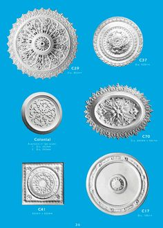 Page 13 - Ceiling Centres - Ornamental interior plaster ceiling centres. Ceiling Panels is Brisbane's leading supplier of decorative plaster and ornamental plaster ceiling centers. Brisbane, Plaster Cornice, Centre, Decorative Plaster, Ceiling Panels, Architecture, Interior, House Ideas, Roses