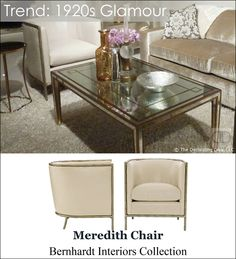 Sophisticated Glamour Decor Trend Meredith Chair Bernhardt Living Room Style | The Decorating Diva, LLC