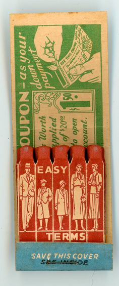 Good Clothing Credit Easy Terms Halls Wichita KS Unused Feature Matchbook | eBay