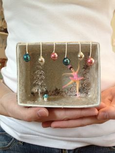 Remember making these for school? Have some fun and make them with the grandkids! Remember making these for school? Have some fun and make them with the grandkids! Vintage Christmas, Christmas Time, Ballet Crafts, Christmas Shadow Boxes, Matchbox Crafts, Altered Tins, Altered Art, Ideias Diy, Christmas Decorations