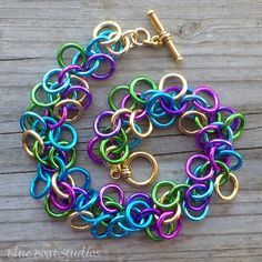 Colorful chain maille bracelet shaggy loops by BlueBoatStudios