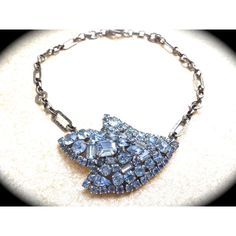 Something Blue Handmade Rhinestone brooch Necklace UniqueBridal... ($149) ❤ liked on Polyvore featuring jewelry, bridal jewellery, rhinestone bridal jewelry, blue rhinestone jewelry, rhinestone wedding jewelry and bridal jewelry