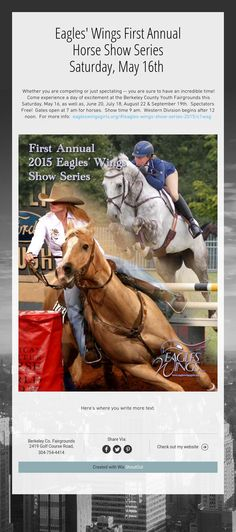 Eagles' Wings First AnnualHorse Show SeriesSaturday, May 16th