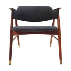 Scandinavian Dark Grey Armchair or Desk Chair 1960s