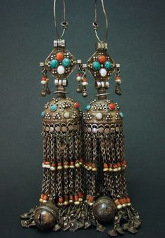 Afghanistan | Turkomen silver, coral and pearl earrings | ca. 18th century | Sold