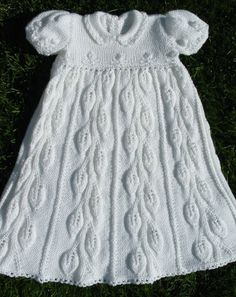 Cascading Leaves Christening Gown -- in Elegant Ensembles to Knit 1 Easy Knitting Patterns, Knitting For Kids, Knitting Designs, Baby Knitting, Knit Baby Dress, Baby Gown, Baby Cardigan, Crochet Girls, Crochet For Kids