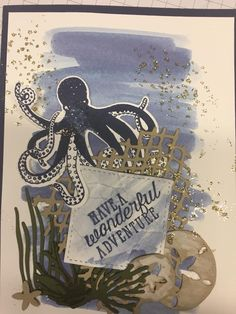 Octopus Card, Sea Texture, Nautical Cards, Beach Cards, Hand Stamped Cards, Boy Cards, Sea Theme, Stamping Up Cards, Winter Cards