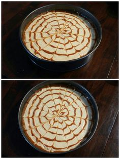 Dulce de leche cake. You should draw on the cream a spiral with dulce de leche and then do lines with a toothpick. One line from the center of the cake to the margins of the pattern, and the next line from the margins of the pattern to the center of the cake.
