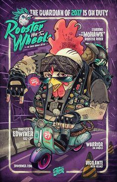 illustration of Rooster biker.