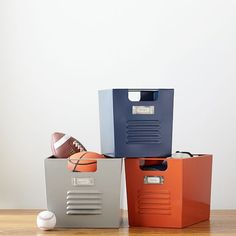 Locker Bins | PBteen - for CJs Desk.  I'd try a combo of small and medium and see what fits.
