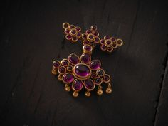 Reversible 2-side #pendant with #Spinal #stones in #Silver #TempleJewellery at #Kushals #FashionJewellery