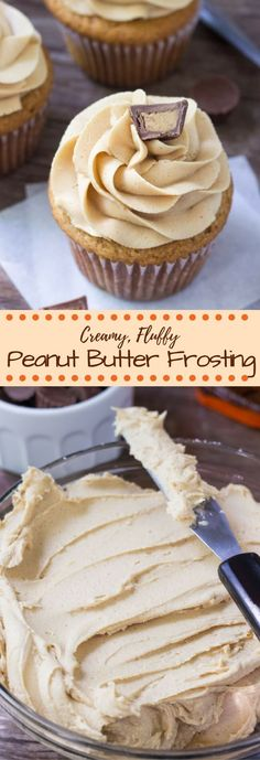 This easy frosting recipe is perfect for cupcakes, brownies, birthday cake or anything that goes with peanut butter! Icing Recipe, Frosting Recipes, Cupcake Recipes, Cupcake Cakes, Butter Cupcakes, Buttercream Frosting, Fluffy Frosting, Frosting For Cupcakes, Sweets