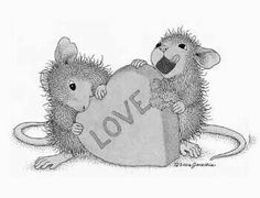 """Eating hard valentine heart """"Mudpie and Amanda"""" from House-Mouse Designs® Colouring Pics, Coloring Pages, Adult Coloring, Coloring Books, Beatrix Potter, Vintage Valentines, Valentine Ideas, Valentine Cards, Valentine Heart"""