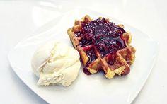 Waffles are just awesome bread. | 📍 Häagen-Dazs | 🔖 #waffles #vanilla #icecream #cherries #häagendazs @haagendazsindia @haagendazs_us