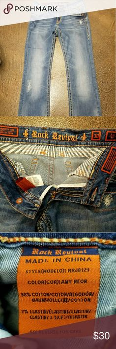 Rock Revivals Rock Revival women's jeans they have an inseam of 28 but they have been hemmed so they were originally probably a 29 so there is room to bring down. There are no holes or tears . They are the Amy boot cut there in really great condition Rock Revival Jeans Boot Cut