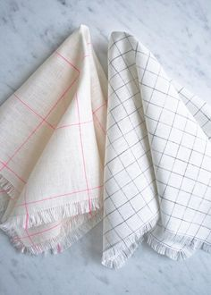 Make your own napkins with linen fabric and pull around the edges to make the fringe.                                                                                                                                                                                 More