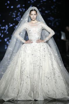 Shimmering couture Zuhair Murad princesses in detailed gowns and the occasional detailed jumpsuit. See the Zuhair Murad Haute Couture F/W 2015 show below: Couture Week, Couture Mode, Haute Couture Dresses, Couture Fashion, Fashion Show, Couture Style, Paris Fashion, Dress Fashion, Luxury Fashion