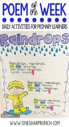 This rain poem is the perfect way to incorporate poetry activities into your daily lessons this spring! By using a poem of the week, you help build reading fluency, phonics and phonemic awareness skills, comprehension, concepts of print and more! Don't fo Poetry Activities, Reading Activities, Literacy Activities, Reading Fluency, Phonemic Awareness Activities, Spring Activities, Phonemic Awareness Kindergarten, Weather Activities, Phonological Awareness