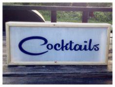 Midcentury Modern Cocktails Custom Light Box Sign