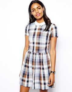 River Island Check Collar Tappy Dress