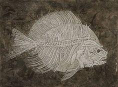 """Saatchi Art Artist Gian Luigi Delpin; Painting, """"fossil fish"""" #art"""