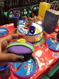 Chuck E Cheese Cupcake Tower wrappers and toppers Party all