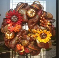 Beautiful autumn wreath created by Becky for DzinerDoorz Etsy Shop and Facebook Page - visit her shop and page to see more. Check out www.trendytree.com for all your wreath making supplies.