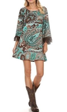 BROWN TEAL PAISLEY TUNIC DRESS W/FRINGE SLEEVES SIZE S, M, L, XL, 2XL, 3XL #…
