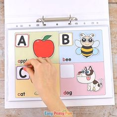 With this printable alphabet quiet book your kids will know their ABC's in no time. This printable alphabet quiet book helps kids with learning the ABC's. The busy book will have kids matching images with silhouettes and beginning sounds. Babysitting Activities, Preschool Learning Activities, Infant Activities, Classroom Activities, Teaching Kids, Homeschool Kindergarten, Preschool Binder, Printable Alphabet, Quiet Books