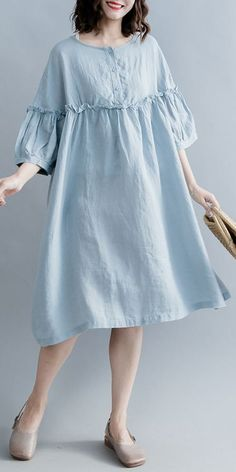 Baggy dresses - Elegant light blue pure cotton linen dress plus size linen cotton dress top quality lantern sleeve wrinkled o neck baggy dresses cotton linen dresses Boho Sommer Outfits, Summer Dress Outfits, Casual Summer Dresses, Trendy Dresses, Simple Dresses, Boho Outfits, Fashion Dresses, Dress Casual, Dress Summer