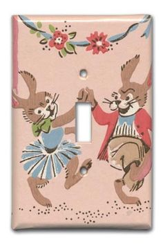 Frolicking Bunnies 1950's Vintage Wallpaper Switch Plate. $12.00, via Etsy.
