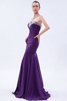 Elegant Mermaid Sweetheart Purple Long Prom Dress in Chiffon Elegant Prom Dresses, Black Prom Dresses, Bridesmaid Dresses, Formal Dresses, Cheap Wedding Dress, Wedding Gowns, Mermaid Sweetheart, Silhouette, Evening Dresses