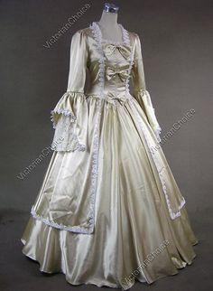 Marie Antoinette Satin Victorian Dress Wedding Ball Gown Reenactment Stage Costume