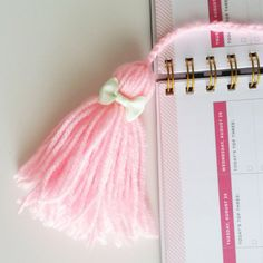 Lite Pink Planner Tassel  |  Tassel Planner accessory  |  Mint Bow Tassel Key Chain  |  Pink and Mint Purse Accessory by ThePinkBalloonPapery on Etsy